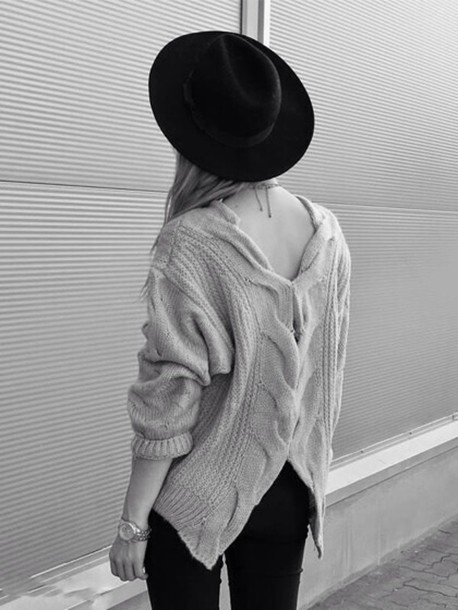 sweater pullover backless sweater knitted sweater fall sweater hipster oversized sweater