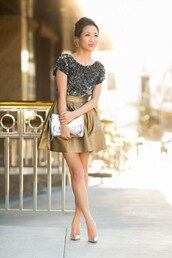 wendy's lookbook,t-shirt,shoes,bag,metallic blouse,silver clutch,clutch,metallic clutch,top,silver top,skirt,gold skirt,short skirt,pumps,pointed toe pumps,silver pumps,blogger