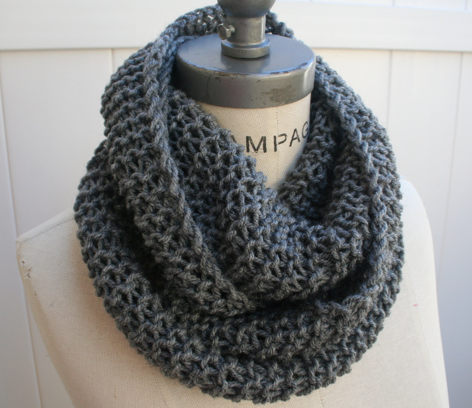 Best selling Items Chain Scarf Grey Knit Infinity Scarf ...