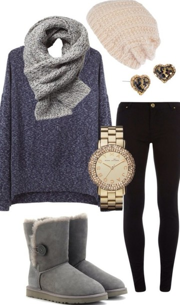 blouse belt top beanie sweater big long sleeves cotton lightgrey scarf shirt blue sweater gray scarf black jeans gray uggs oversized gray scarf