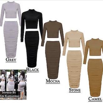 dress camel brown grey stone 2piece dress kim kardashian dress
