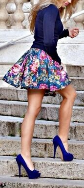 shoes,electric blue heel,floral print skirt,navy sweater,skirt,shirt,printed skirt,solid color,navy,long sleeves,dark blue shoes,navy blue shoes,peep toe,tank top,pumps,royal blue sweater,sweater,floral skirt,skater skirt,neon pumps,blue sweater,top