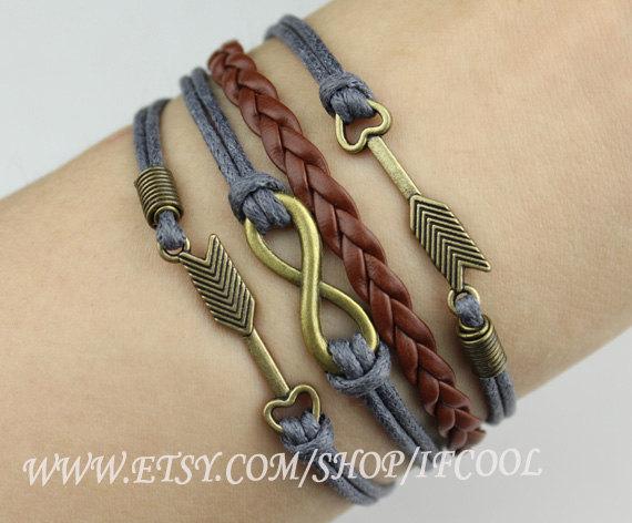 Antique bronze infinity braceletarrow  braceletwax cords by ifcool