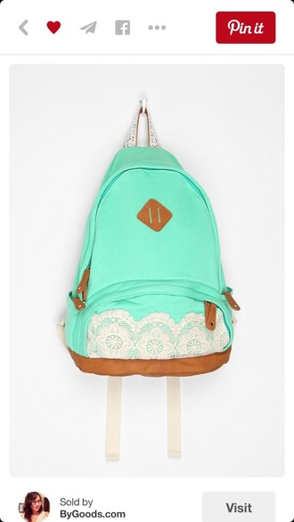 bag mint backpack lace