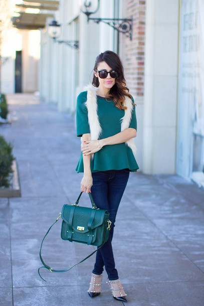 hello fashion t-shirt jacket jeans shoes bag jewels valentino rockstud peplum top green top