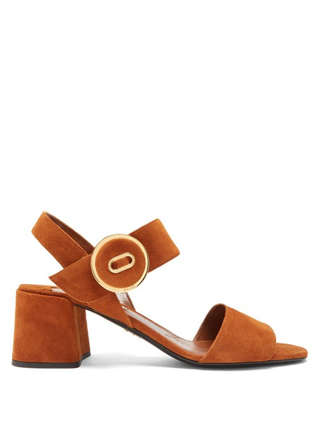 Prada sandals suede tan shoes