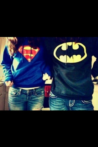 shirt black hoodie blue cute hipster batman superman