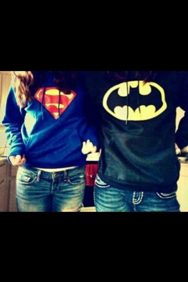 batman black shirt superman blue cute hoodie hipster