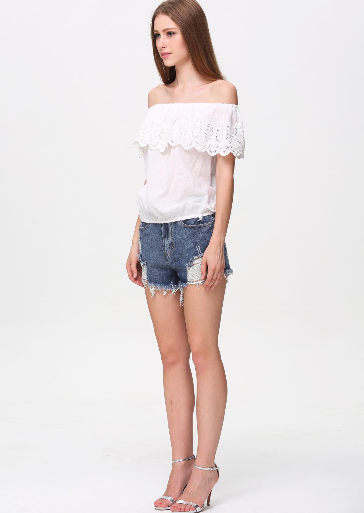White Off the Shoulder Ruffle Hem Top - Sheinside.com