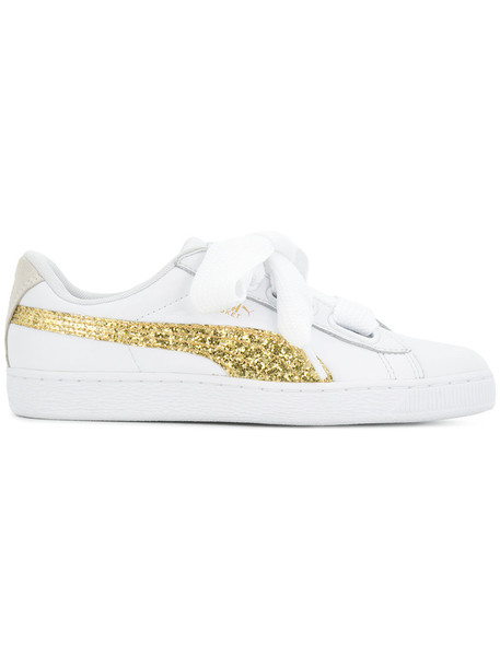 puma glitter women sneakers leather white shoes