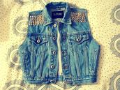 jeans,vest,studs,denim vest,denim,jacket