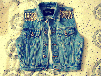 jeans vest studs denim vest denim jacket