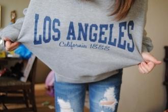 shirt t-shirt vintage grunge tumblr california los angeles california top grunge t-shirt grey t-shirt sweater