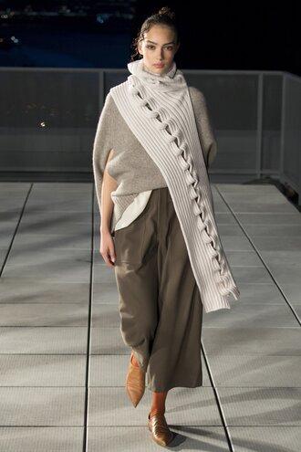 sweater pants thakoon ny fashion week 2016 model runway fall sweater fall colors fall outfits scarf flats