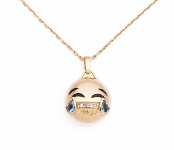 Jewels emoji print necklace gold necklace laughing out loud