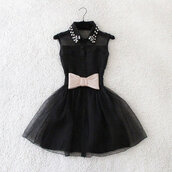 dress,black,bow,studs,bkack,studded,black dress,little black dress,little black dresses,fancy,flare,mesh,see through,see-through neckline,sleeveless,sleeveless dress,collar,studded collar,buttons,ballerina,tulle skirt,tule skirt,elegant