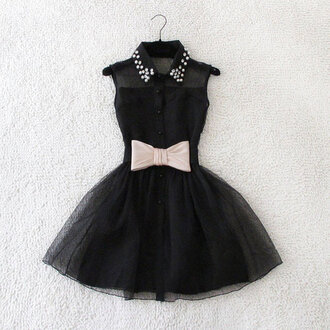 dress black bow studs bkack studded black dress little black dress little black dresses fancy flare mesh see through see-through neckline sleeveless sleeveless dress collar studded collar buttons ballerina tulle skirt tule skirt elegant