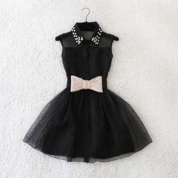 ballerina tulle skirt collar studded collar dress black bows studs bkack studs little black dress collar
