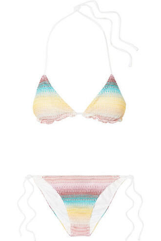 bikini triangle bikini triangle metallic baby knit pink crochet baby pink swimwear