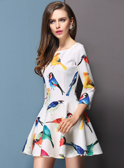 dress streetstyle i4out fashion look lookbook swag girl skirt clothes vintage birds birds dress