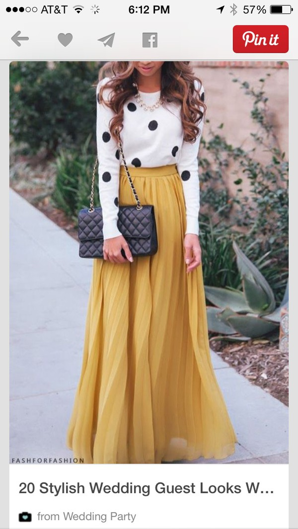 skirt mustard pleated skirt lemongrass polka dots blouse