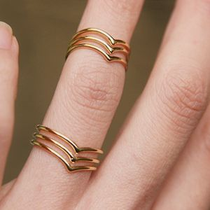 Triple Chevron Gold Knuckle Rings Set from Kellinsilver.com