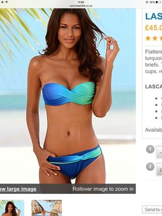 swimwear blue turquoise bikini ombre twist