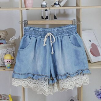 shorts denim cute girly summer fashion style blue spring trendsgal.com girl girly wishlist trendy kawaii teenagers