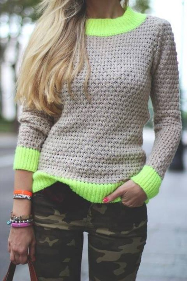 sweater neon pullover pants