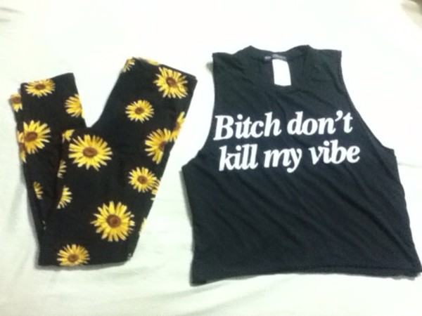 shirt crop tops vibe black and white black t-shirt white letters floral leggings t-shirt tank top pants holographic