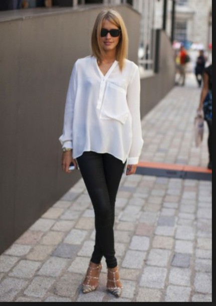 Blouse: oversized blouse, oversized top, white blouse, top, loose ...