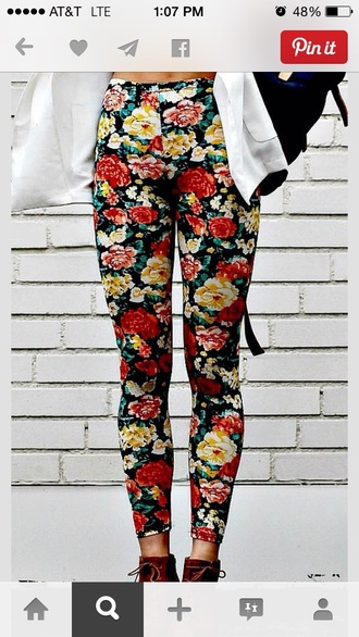 jeans roses printed pants hipster