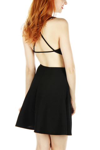 Cutout open back skater dress