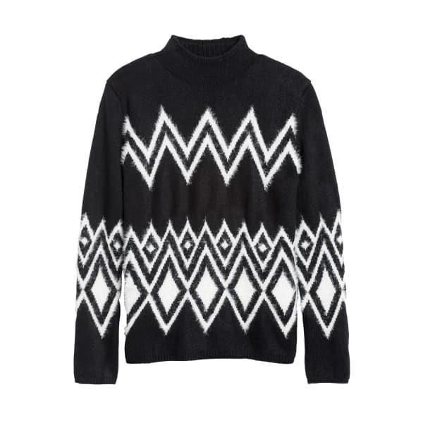 Banana Republic Women's Modern Fair Isle Sweater Black & White Regular Size XS