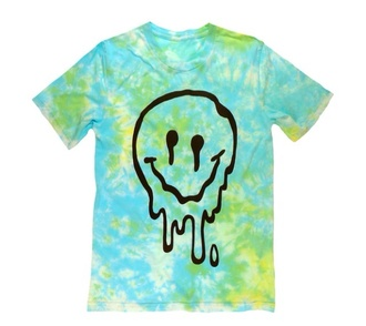 t-shirt tie dye green and blue melted face happy smiling