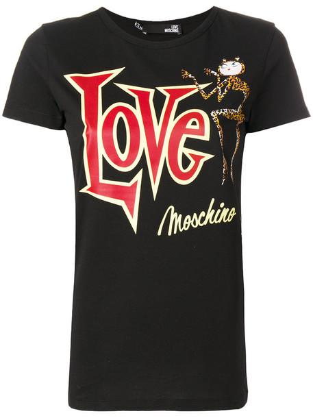 Love Moschino - graphic printed T-shirt - women - Cotton - 40, Black, Cotton