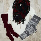 leggings,comfy,warm,white,lazy day,grey,christmas,knee high socks,burgundy,plad,sweater,long sleeves,snowy,messy bun,messy hair,snowflake,snowflake leggings,ivory