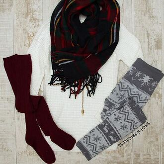 leggings comfy warm white grey christmas lazy day knee high socks burgundy plad sweater long sleeves snowy messy bun messy hair snowflake snowflake leggings ivory