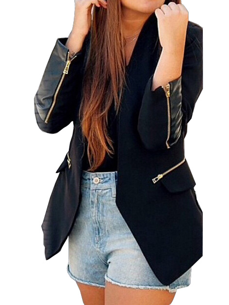 Black pu spliced long sleeve collarless casual blazer without buttons