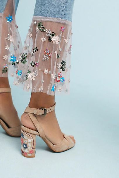 jeans floral nude lace heels pinterest fashion outfit see through