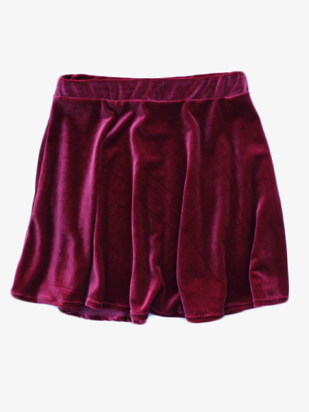 Wine Velvet Skater Skirt