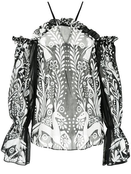 Alice McCall blouse women cotton black silk top