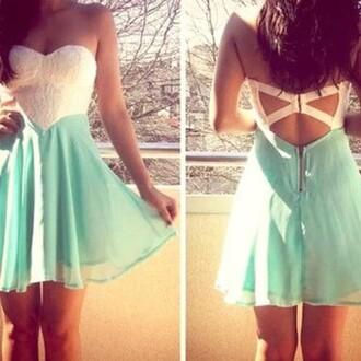 dress classy sea green dress cut out back dress dress white mint turquoise