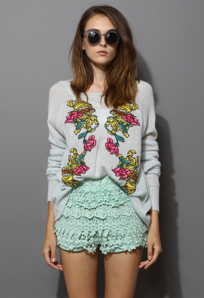 sweater floral light blue embroidered chic blogger