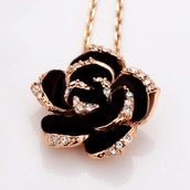 jewels,necklace,black,rose,diamonds