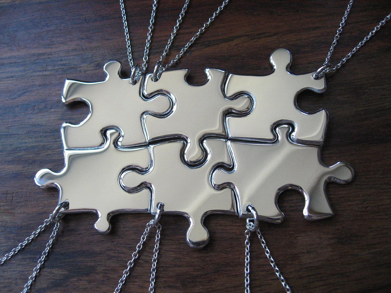 6 Puzzle Piece Pendant Necklaces Argentium Silver