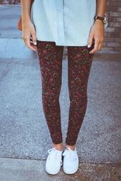 pants,floral,leggings,printed leggings,jeans,flowers,floral leggings,floral print pants,flora,pink,cotton