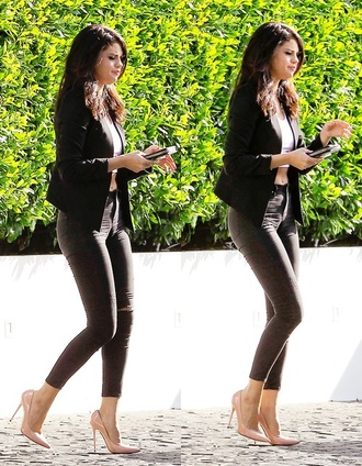 selena gomez outfit style top jacket jeans bag