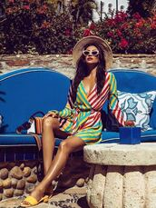 dress,wrap dress,stripes,colorful,shay mitchell,instagram,celebrity,mules,sunglasses,hat,plunge v neck