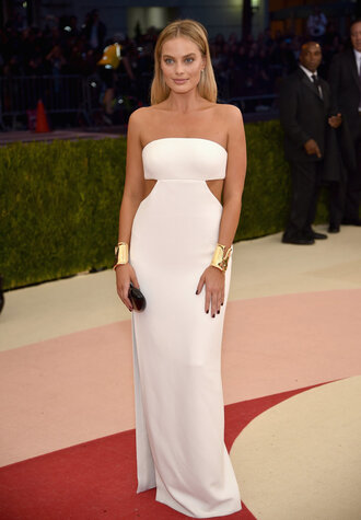 dress strapless strapless dress white white dress gown prom dress long prom dress met gala bracelets margot robbie red carpet dress wedding dress cut-out dress